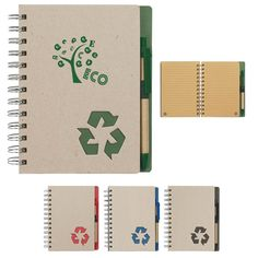 Eco-friendly spiral notebook and pen features 80 page lined recycled notebook with recycled symbol on bottom corner of pages. Recycled symbol die-cut on cover. Elastic pen loop. Matching pen has recycled paper barrel.