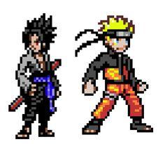 Pixel Art #10 - Naruto and Sasuke by AngelAdfectus.deviantart.com on @DeviantArt