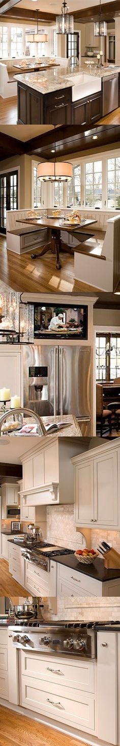 Love this kitchen, especially the dinner table.
