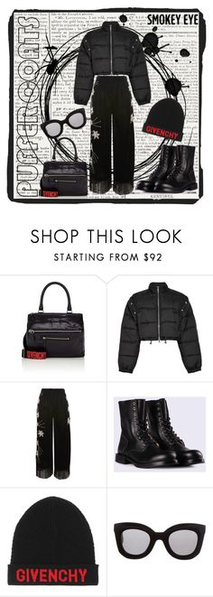 """""""Puffer Coat: total black outfit"""" by madtrr on Polyvore featuring moda, Givenchy, 3.1 Phillip Lim, Topshop, Diesel e CÉLINE"""