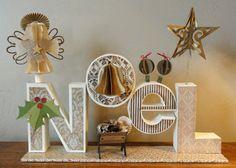 "Needles 'n' Knowledge: 'NoeL"" 3d Letter Box Ensemble"