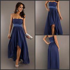 2013 Fashion!Strapless Slim Navy Blue Flowy Chiffon Trend High Low Prom/Party/Bridesmaid Dress
