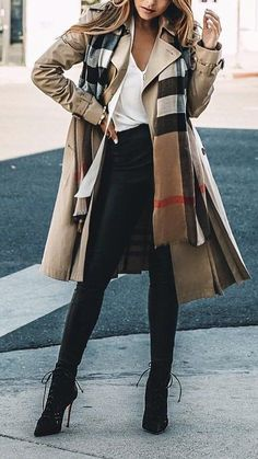 #fall #outfits ·  Cream Trench // White Top // Skinny Jeans // Printed Scarf