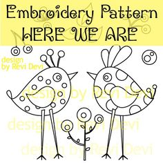 Here We Are 15020 - Cute Embroidery Pattern - PDF download - whimsical design for home decor