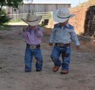 two cute lil' cowboys