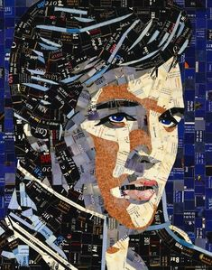 Elvis collage portrait - by Sandhi Schimmel Gold;  made with PAPER WASTE (junk mail, calendars, postcards, photos, greeting cards, etc.)