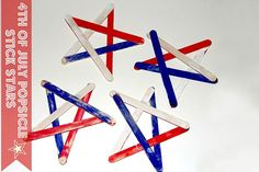 4th Of July Crafts For Kids - Patriotic Fourth Of July Popsicle Stick Stars