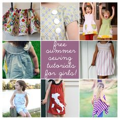 Roundup of summer sewing patterns and tutorial for girls!  #tutorial #DIY #sewing