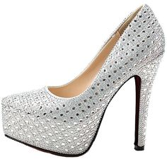 bangfox Beaded Bridal Stiletto High Heel Wedding Platform Pump Dress Platform Shoes find ** Details can be found by clicking on the image.
