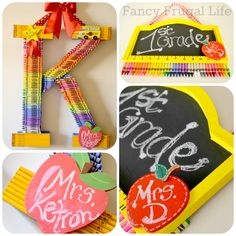 Teacher Monogram Wreath & Crayon Chalkboard Sign | Such a colourful gift for a teacher!