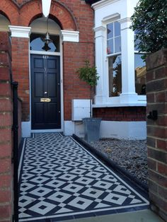 black and white victorian mosaic tile path balham york stone london Porch Entrance, Entrance Doors, House Front Door, House Doors, Victorian Mosaic Tile, Front Path, York Stone, Victorian Porch, Kerb Appeal