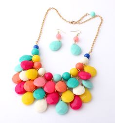 The golden chain acrylic pendants three layers of drops Necklace multicolor Free Shipping $4.70