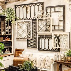 Brought in some fresh new finds to my booth @thefoundcottage mercantile shop this weekend. This collage of old chippy windows might be my… Vintage Window Decor, Window Frame Decor, Old Window Frames, Frames On Wall, Rustic Window Decor, Decorating With Window Frames, Decorating Old Windows, Old Window Ideas, Rustic Window Frame