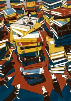 Among books in the library … where to start? / Entre libros en la biblioteca… por dónde empezar? (autor desconocido).