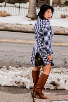 I instantly fell in love with this Harvey Faircloth zip-gusseted flannel shirtdress. The mix of gingham print with the zip camo reveal is amazing.