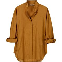 Vanessa Bruno Cotton-blend shirt ($86) ❤ liked on Polyvore featuring tops, blouses, shirts, blusas, loose shirts, brown blouse, high collar shirts, brown long sleeve shirt and sheer long sleeve top
