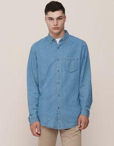 Pull&Bear - hombre - camisas - camisa denim básica - azul - 09471512-I2015