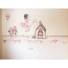 """Mural Infantil Personalizado """"BAILARINA CON PERRITA"""""""