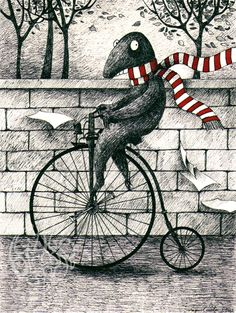 """It would have been a perfect day for a bycicle ride, if it weren't for Mr. Gorey crossing the street"" (2012)  (from my ""Illustrated Monstruary"" series)  18x24 cm  pen and Ecoline on paper"