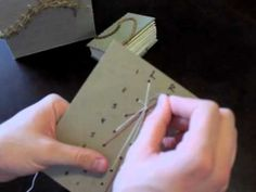 Tutorial on how to create the caterpillar stitch for handmade books. No glue is required, only waxed thread and 2 curved needles.