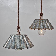 Vintage Industrial Rustic Modern Brioche Tin Pendant Light - Barn Aged Patina (SM) // Vintage Style Cloth Twisted Cord & Bakelite Plug