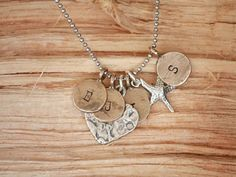 Hand Stamped 4 Tag Initial Necklace with Hammered by sosobellatoo, $56.00