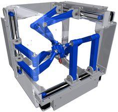 The Hexapteron invented by Nicholas Seward. Cnc Router Plans, Cnc Plans, Cnc Lathe, Delta Robot, Robotic Automation, Cnc Milling Machine, Industrial Machine, Diy Cnc, 3d Prints