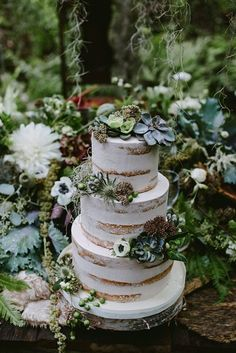 Wedding Cakes succulent wedding cake - Enchanted Forest Wedding ideas for the earthy bride that is looking for something elegant and earthy Woodsy Wedding, Fall Wedding, Our Wedding, Dream Wedding, Trendy Wedding, Wedding Reception, Wedding Trends, Elvish Wedding, Redwood Wedding