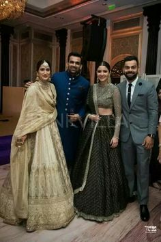 Anushka Sharma Black Lehenga Is Perfect For BFF'S Wedding And Reception. Indian Groom Wear, Indian Wedding Wear, Indian Attire, Indian Ethnic Wear, Indian Weddings, Ethnic Dress, Country Weddings, Indian Style, Indian Bridal