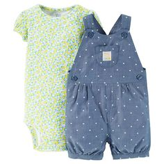 Just One YouMade by Carter's Newborn Girls' Floral Polka Dot Shortall - Chambray/Multi