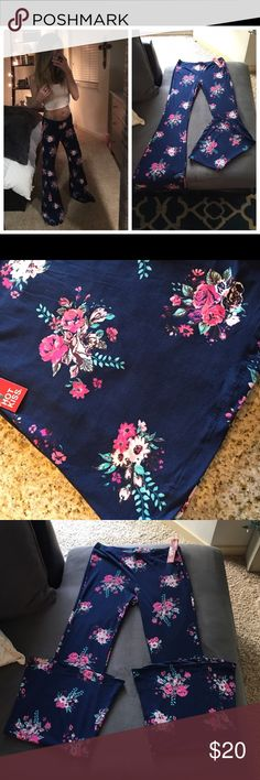🆕Best Sellers Floral Hot Kiss Flared Pants🆕 These are the most incredible pants wrapped up in a sea 🌊 scape of blue with a beautiful floral print 💐 They are 92% polyester and 8% spandex sooo buttery soft and smooth. They are my best selling pants 🤸🏼♀️ They are 35 inches long with extreme fit and flare. Similar to wearing leggings 😎Please don't hesitate to ask any questions🛍 Hot Kiss Pants Boot Cut & Flare