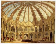 The interior of the Royal Stables, John Nash's Views of the Royal Pavilion, which first appeared in 1826