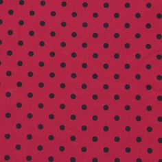 Popeline in Rot mit schwarzen Punkten
