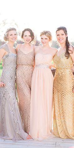 sequined metallic bridesmaid dresses via cory and jackie photography / http://www.deerpearlflowers.com/2015-wedding-trends-sequined-metallic-bridesmaid-dresses/