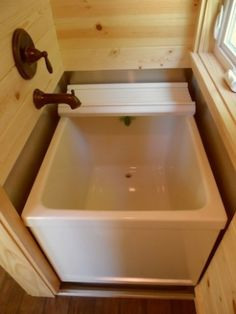 Tiny house Japanese soaking tub. The Tiny Tea House is one of the coolest new tiny houses I've seen!