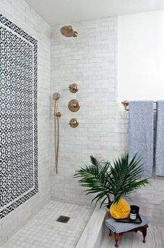 "Absolutely LOVE this shower (but want it enclosed)..""gliver"" hardware...not silver...not gold..LOVE"