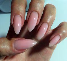 Nude Pink Almond Nails Natural Gel Nail Design Naked Stiletto Nails #ByMargarita