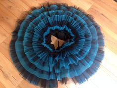 Pancake tutu skirt. 17 layers of stuff black and blue net. Made by Sewn by Sara Ballet Tutus.