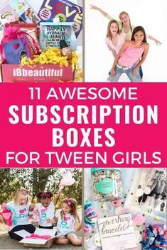 Tween girl subscription boxes are so much fun! Need a fun gift for a tween girl? Choose a subscription box! The best subscription boxes for tweens are here! Birthday Gifts For Kids, Christmas Gifts For Kids, Family Christmas, Tween Girl Gifts, Tween Girls, Subscription Boxes For Tweens, Unique Gifts For Kids, Beauty Box Subscriptions, Kids Up