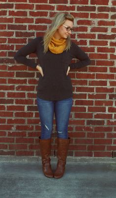 long sleeve tee + jeans + cognac boots + mustard scarf