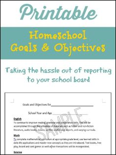 Printable Homeschool Goals And Objectives