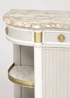 Antique Louis XVI Marble-Top Buffet | From a unique collection of antique and modern buffets at https://www.1stdibs.com/furniture/storage-case-pieces/buffets/