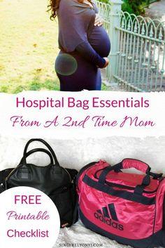 Hospital Bag Essentials from a 2nd time mom. Free Printable checklist inside #delivery #hospitalbag #pregnancy