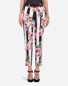 striped rose print trousers - Black Dolce & Gabbana MrwcawTvl
