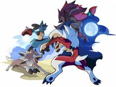 Lycanroc Midday Form and Lucario vs. Lycanroc Midnight Form and Zoroark by nganlamsong