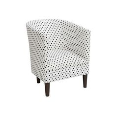 Troy Tub Chair Black Spots Club Chairs ($359) ❤ liked on Polyvore featuring home, furniture, chairs, accent chairs, black white chair, handcrafted furniture, black and white furniture, handmade furniture y polka dot chair