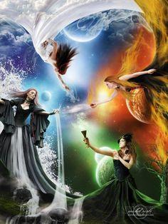Les 4 éléments : l'air,le feu,la terre et l'eau (à lire dans le sens des aiguilles d'une montre)....