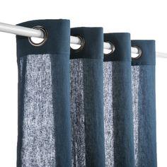 Rideau lin bohème bleu pétrole
