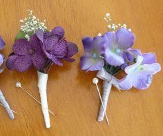 Boutonniere, Purple Hydrangea Boutonniere, Boutonnieres, Wedding boutonniere via Etsy