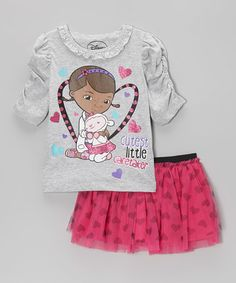 Take a look at this Gray & Pink 'Little Caretaker' Tee & Skirt - Toddler & Girls by Doc McStuffins on #zulily today!